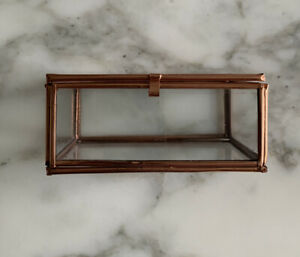 Copper & Glass Trinket Jewellry Box New L 9.5cm X W 7cm X H 4.5cm Top Openning