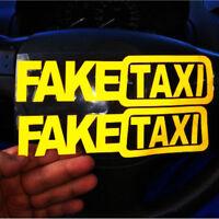 2Pcs FAKE TAXI Car Sticker FakeTaxi Decal Funny Vinyl Decal 20x5cm Car Styling