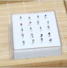 20PCS Solid Silver Mixed Dolphin Crystal Straight Bar Rod Nose Stud Wholesale