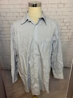 BROOKS BROTHERS Mens' Blue White Checked Button-Up Long Sleeve Shirt 17 1/2-4/5