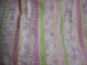 Pink Green floral Striped Twin flat and fitted sheet set 100% cotton