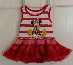 Disney Park Baby Girl 3-6 M Minnie Mouse Red White Ruffle Tank Summer Tutu Dress