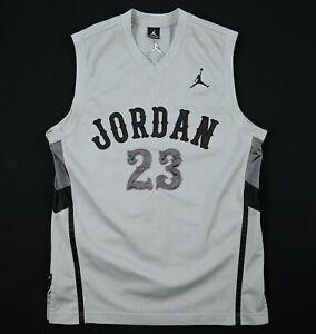 Nike Air Jordan Mens Jumpman 23 Jersey Size L Grey Stitched V Neck Sleeveless