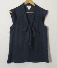 Ann Taylor LOFT Women's Blue Sheer Necktie Blouse Top Size S