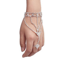 Fashion Rhinestone Hand Bangle With Finger Ring Bracelet For Women And Girl