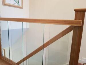 Handrail Oak and Glass Landing Banister Set for Landing up to 2.4m + 3.6 HR