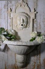 Fontana Muro Esterna Ghisa Scolpito Bianco Vecchio Vintage Giardino Romantico