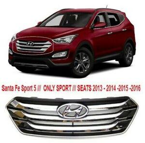 Front Bumper Upper Chrome Grille & Emblem For Santa Fe Sport 5 SEATS 2013 - 2016