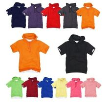 Plain Light Cotton Blend Hooded short tshirt Hoodie Hoody Jumper Top tee XS~XXL
