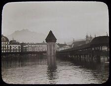 Glass Magic Lantern Slide THE BRIDGE AND TOWER LUCERNE C1910 PHOTO SWITZERLAND