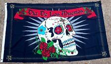 Dia De Los Muertos Sugar Skull With Roses 3'x5' Flag Wall Hanging Bar, Man Cave