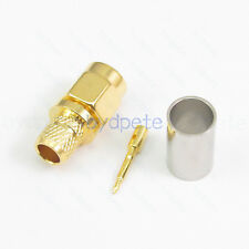 SMA male plug straight connector crimp for RF LMR240 Low Loss Coax cable 50 ohm