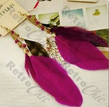 BIG long FEATHERS boho bird FEATHER EARRINGS festival bohemium MAGENTA hot pink