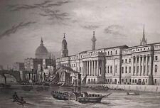 The Custom House, London, Original Antique Print, Shepherd, Bond, Dugdales