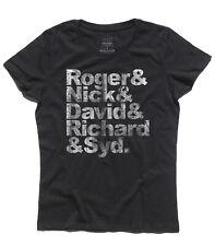 T-shirt donna PINK FLOYD names like BEATLES Roger Nick David Richard Syd vintage