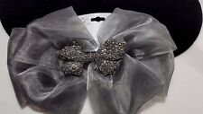Vintage Rare Fabric Kirks Folly Smoky Gray Silky Pave Crystal Barrette Bow NWT