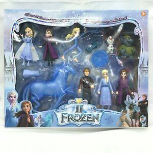 10 Piece Set Frozen 2 Playset Elsa Anna Olaf Kristoff 14cm Cake Topper
