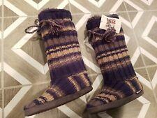 NEW Original MUK LUKS SMALL Shearling Knit Slippers Booties Tall Navy Tan Gray S