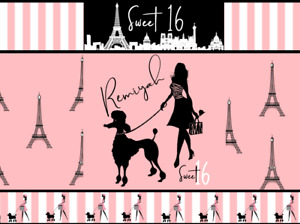 Paris Eifel Tower Birthday Favor Chip Bag & Water Bottle Labels & Candy Wrappers