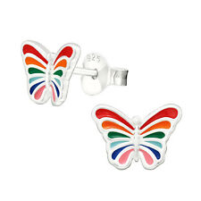 Girls Rainbow Stripy Butterfly Sterling Silver Stud Earrings 8mm
