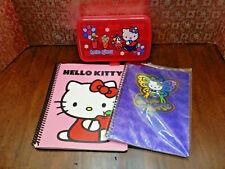 3 HELLO KITTY Sanrio VTG Pieces 2/Spiral Notebooks & Plastic Pencil Case, PREOWN