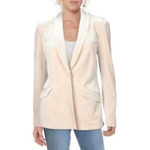 INC Womens Beige Velvet Single Vent One-Button Blazer Jacket M BHFO 5454