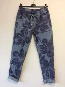 Italian Lagenlook Flower Floral Print Joggers Stretch Magic Trousers 10 - 22