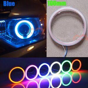 2pcs 100mm Blue Car Motorcycle Headlight Angel Eye Cob Halo Ring 117 LEDs Lights