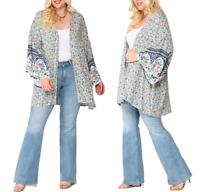 Plus Size Floral Boho Gypsy Ruffle Bell Sleeve Kimono Cardigan Duster Tunic 1X