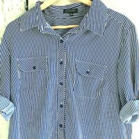 Notations Womens Top Button Up Shirt Roll Tab Sleeve Striped Blue White Size XL