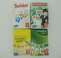 🌺 4 x Pocket Spiele : MONOPOLY TWISTER SCRABBLE PICTIONARY 🌺 NEU + verschweißt