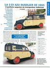 2 CV Citroën AZU Dusolier Transport Calberson AK 350 1965 Car Auto FICHE FRANCE