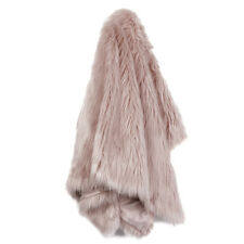 Blush Dusty Pink Scandi FUR THROW Cover Soft Thick Plush Large Size Velour Lined