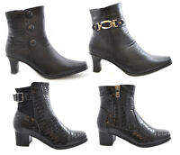 Womens Ladies Black Ankle Boots Shoes Low Mid Kitten Block Heel Inner Zip Size