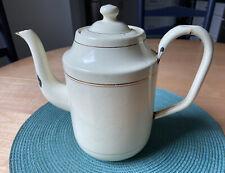 Vintage European Enamel Coffee/ Tea Pot Kettle Yellow Gold Lining