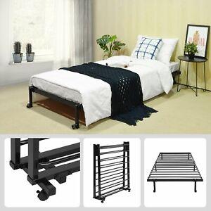EGGREE Lit simple Cadre de lit pliant simple en métal avec 4 roues 196 * 90 cm