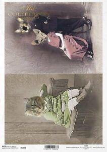 Reispapier-Motiv Strohseide-Decoupage-Vintage-Katze-R1820