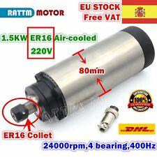 【ES】1.5KW 220V Air Cooled 80mm ER16 Spindle Motor 400Hz 24000rpm Engrave Milling