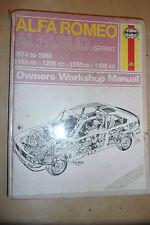 ALFA ROMEO ALFASUD & SPRINT COUPE PHASE I & II HAYNES WORKSHOP MANUAL  1974-1988