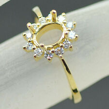 5x7mm Oval Cut Solid 14kt Yellow Gold Natural Diamond Semi Mount Ring