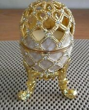 "New 5.8"" Egg Gold Pearl Enameled Jewelled White Crystals  Musical Box"
