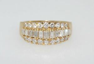 18K Yellow Gold 1.12CTW Round & Baguette Cut Diamond Cluster Ring Band