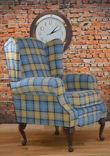Wing Back Cottage Country Queen Ann Blue Yellow Lana Tartan Chair. British Made!