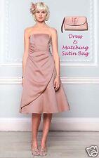 Bnwt taille 10/12 rose poudré satin eve court robe & pochette bhs demoiselle d'honneur £ 98