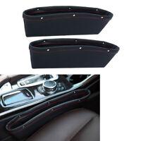 2*Black PU Leather Catcher Box Caddy Car Seat Gap Slit Storage Pocket Organizer