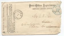 1860s Us Post Office Dept Cover from Return Letter Office w/ Blue D.L.O.