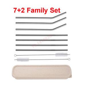 7Pcs Stainless Steel Metal Drinking Straw Reusable Straws+2Pcs Cleaner Brush Kit