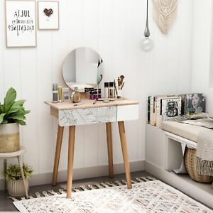 HOMCOM Wooden Compact Dressing Table w/ Drawer Mirror 4 Legs Table Top Bedroom