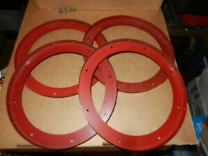 4 MECCANO  #167b Flanged Rings,  Red,  9 7/8 inch Diameter,  Original