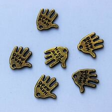 100pcs Bronze Hand Charms Pendants Jewelry Findings 12x12.5mm ZN1771